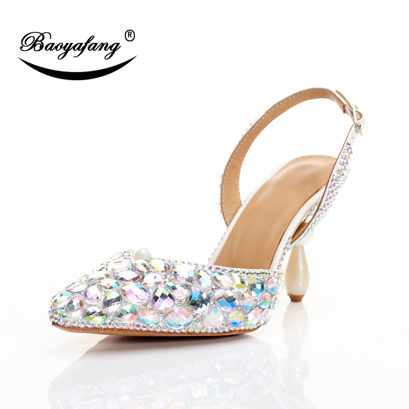 BaoYaFang New arrival strange style 7cm Heels shoes Womens Pointed Toe Slingbacks Wedding shoes Bling Crystal Party dress shoes baoyafang new arrival ladies shoes fashion pointed toe high heels pumps women office shoes 7cm heel sexy girls wedding shoes
