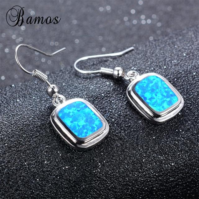 Bamos Women Square Earring Blue Fire Opal Earrings 925 Sterling Silver Filled Drop For