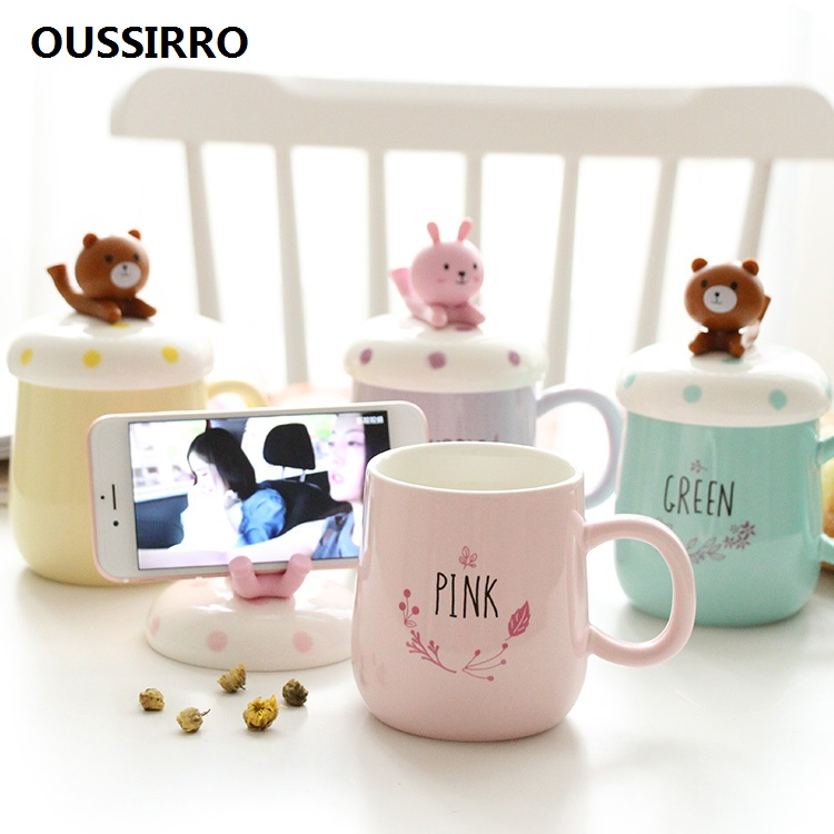 OUSSIRRO Creative INS Fashion Animals Cartoon Mugs Ceramic Cute Couple Cup Coffee Milk Cup Office Cup Lid Spoon in Mugs from Home Garden