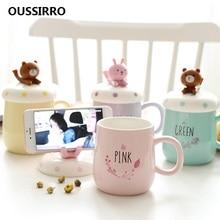 OUSSIRRO Creative INS Fashion Animals Cartoon Mugs Ceramic Cute Couple Cup Coffee Milk Office Lid Spoon