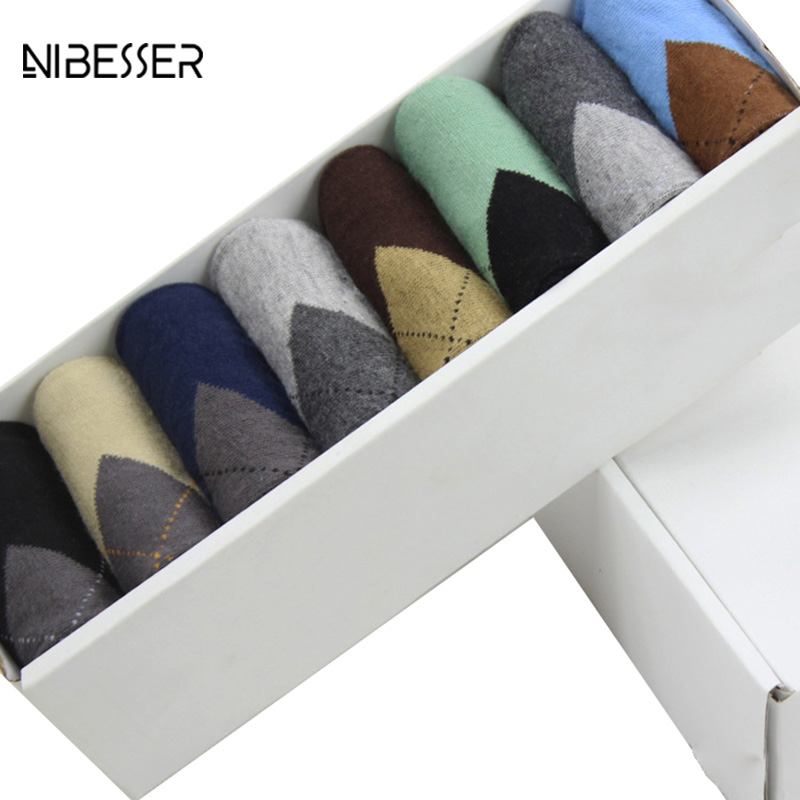 NIBESSER 5/8pcs Lot Men Striped PLaid Socks Male Fashion Casual Antibacterial Deodorant Male Socks Shallow Mouth Socks