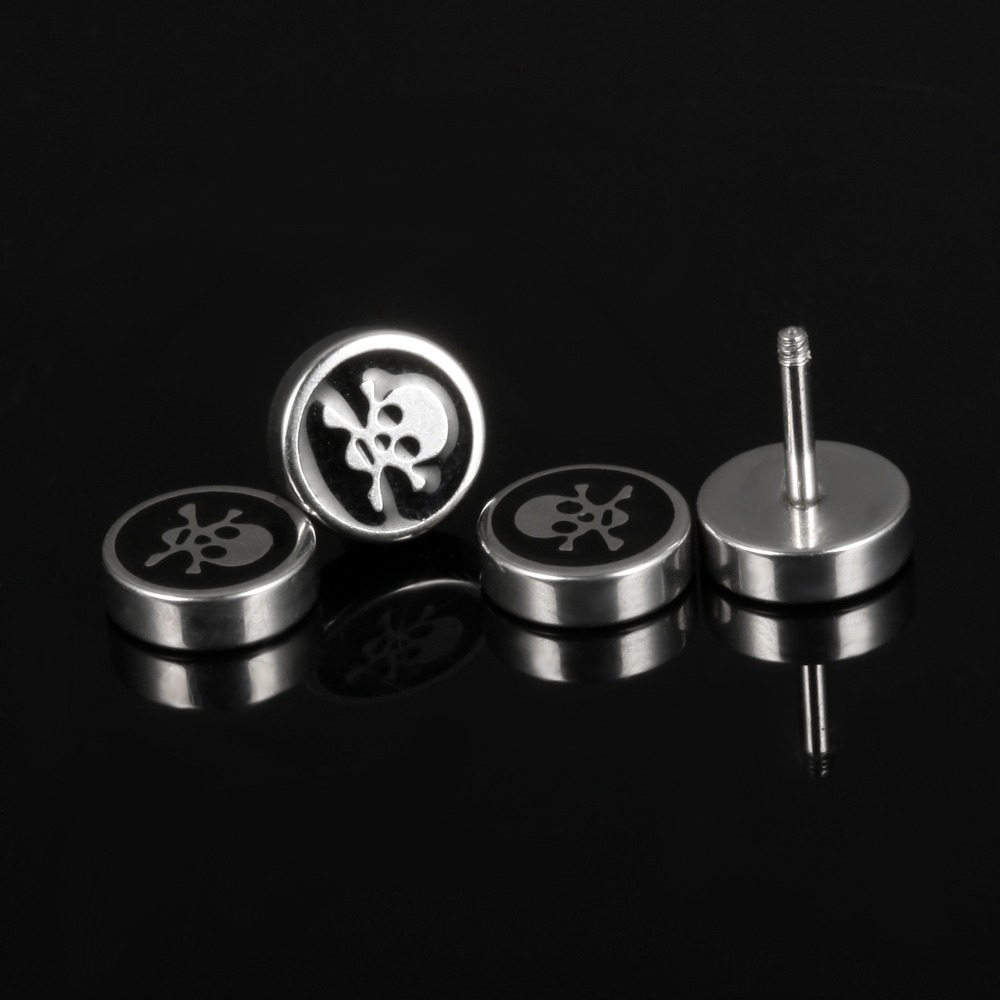 Men earrings screw back black earring for men stud earrings w/ skull stainless steel earring jewelry punk wholesale GE305