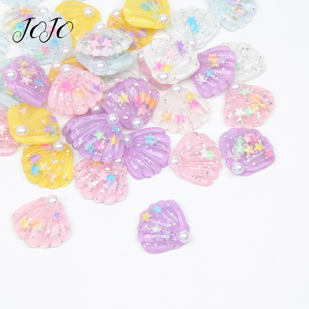 JOJO BOWS 30mm 10pcs DIY Craft Supplies Pearl Shell Planar Resin Accessories For Phone Case Sticker Handmade Apparel Decoration