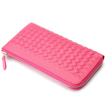 Quality Lambskin Genuine Leather Woven Pattern Clutch Wallet Money Clip Purse for Men and Women