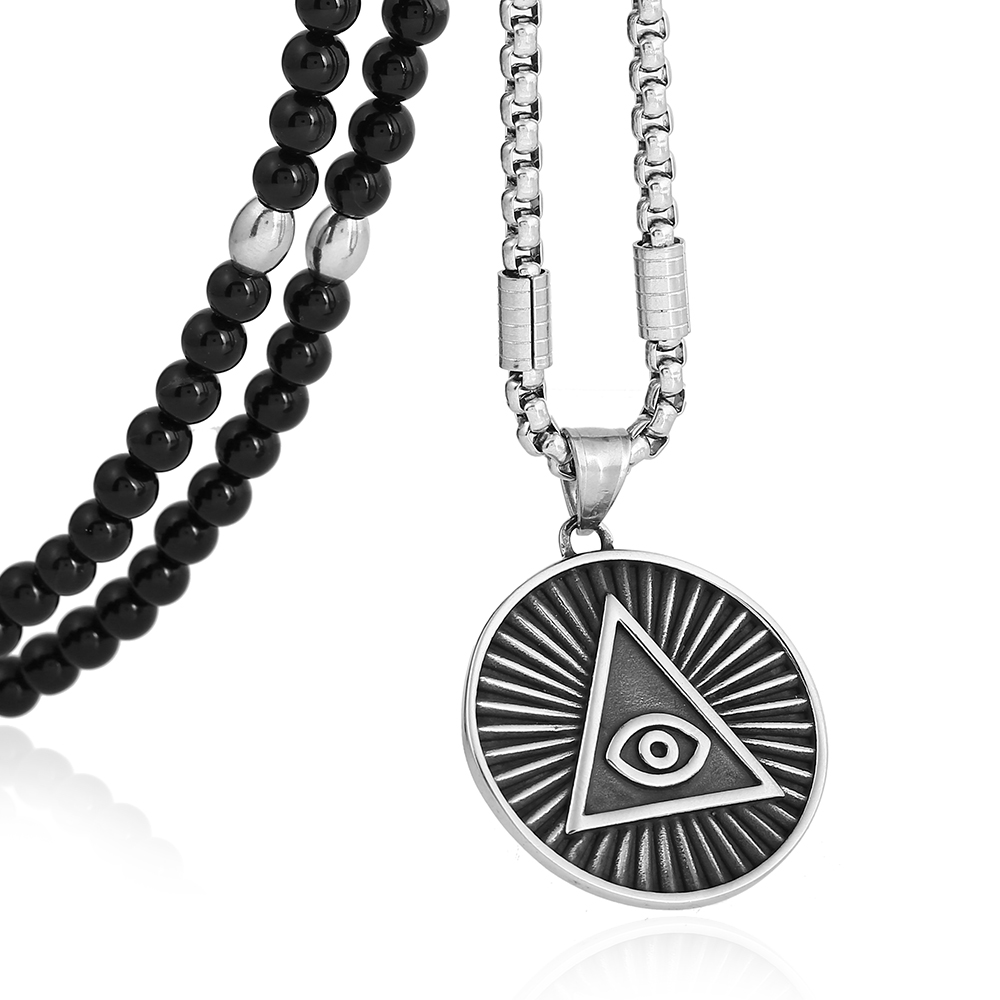 Black natural stone beaded necklacestainless steel illuminati the black natural stone beaded necklacestainless steel illuminati the all seeing eye pendant necklace for men jewelry in pendant necklaces from jewelry mozeypictures Images
