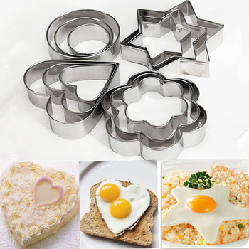 12pc/set Baking Moulds Stainless Steel Cookie Cutters Plunger Biscuit DIY Mold Star Heart Cutter Baking Mould Stencils Pastry 6pcs sets baking mould heart cookie cutter heart shaped cookie cutters stainless steel biscuit pastry cutters cake eggs diy mold