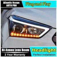 Светодиодный налобный фонарь для hyundai ix25 светодиодный фары 2015 2016 2017 для Creta фары H7 Биксеноновая разрядная лампа высокой интенсивности для об