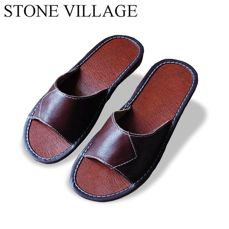 STONE VILLAGE Genuine Leather Slippers Unisex Women Men  Slippers Cow Muscle  Non-Slip Floor Home Slippers Women Men Shoes