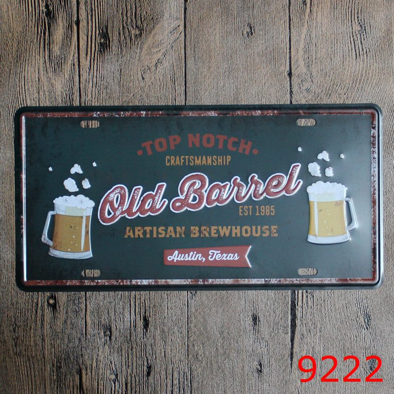 Car number  TOP NOTCH OLD BAIIEL EST 1987 BEER  License Plates plate Vintage Metal tin sign Wall art craft painting 15x30cm