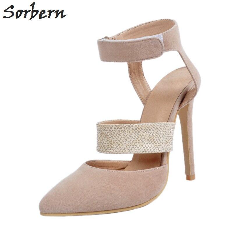 Фотография Sorbern Plus Size Women Pumps Hook Loop High Thin Heels Designer Shoes Women Luxury 2017 Bridal Shoes Ladies Shoes Cheap P