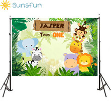 Buy Sunsfun Happy Birthday Backdrop with Jungle Animals Cartoon Style Party Decoration Photography Studio Funds 150x90cm directly from merchant!