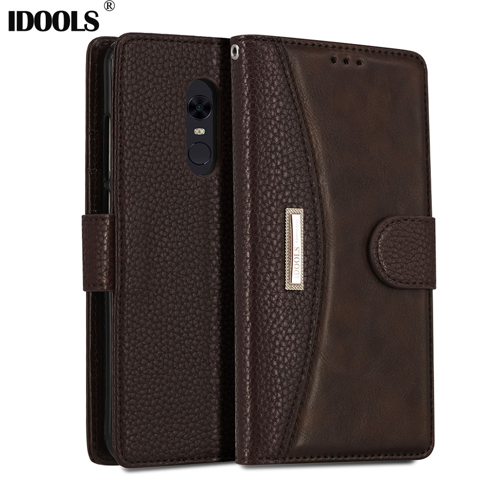 IDOOLS Case for Xiaomi Redmi 5 Plus Redmi5 Pro PU Leather Wallet Cover Phone Bags Cases for Xiaomi redmi 5 Plus Pro Shell Coque