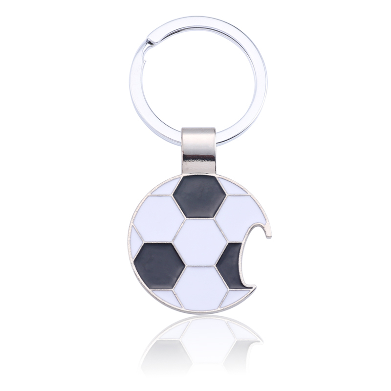 Trendy-Football-Key-Chain-Creative-Beer-Bottle-Opener-Keychain-Enamel-Black-White-Soccer-Key-Ring-Unisex