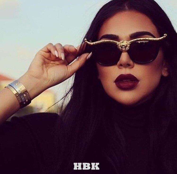 Gafas de sol grandes de ojo de gato de marca de diseñador de gafas de sol  de lujo de cabeza de león para mujer de oro Retro gafas de sol de mujer ... 613fd5142c82