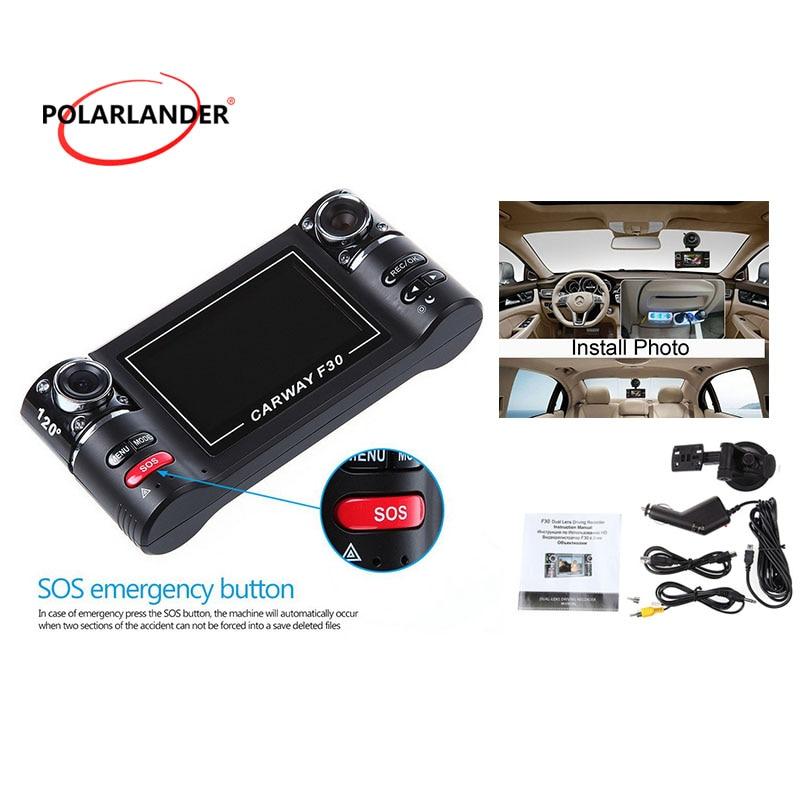 Livraison gratuite HD double lentille caméra véhicule automobile 2.7 pouces LCD voiture DVR Cam Dash enregistreur vidéo 8 IR lumières SOS F30