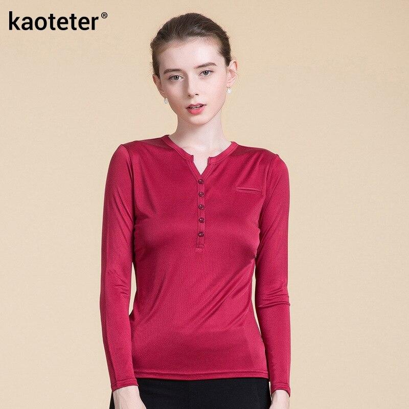 T-shirts décontracté és à manches longues pour femmes en soie Pure T-shirt Slim pour femmes col en V hauts pour femmes