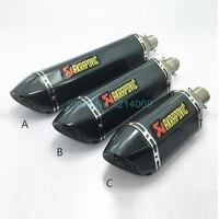 570mm/470mm/380mm Universal 51mm Akrapovic Motorcycle Exhaust Muffler Pipe Escape Moto Stainless Steel Motorbike Muffler Exhaust