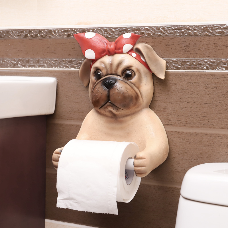 Bathroom reel bathroom rack wall hanging toilet reel sanitary carton creative toilet paper rack cute dog tissue box paper holder
