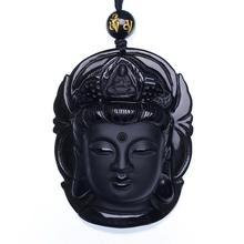 Naturel Noir Obsidienne Pendentif Avalokiteshvara Bouddha Guanyin Tête Amulettes Et Talismans Gommage Pendentif Avec Perle Collier