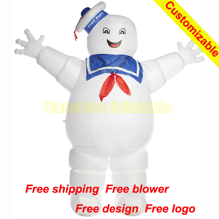 Hot selling cartoon Inflatable Ghostbusters Stay Puft Marshmallow Man 13ft tall for advertising free logo