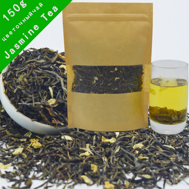 150g  china tea new Promotion Organic Jasmine Flower Tea Green Tea +Secret Gift+Free shipping jasmine green tea 250g jasmine flower tea green tea jasmine flavor biluochun tea jasmine bud free shipping