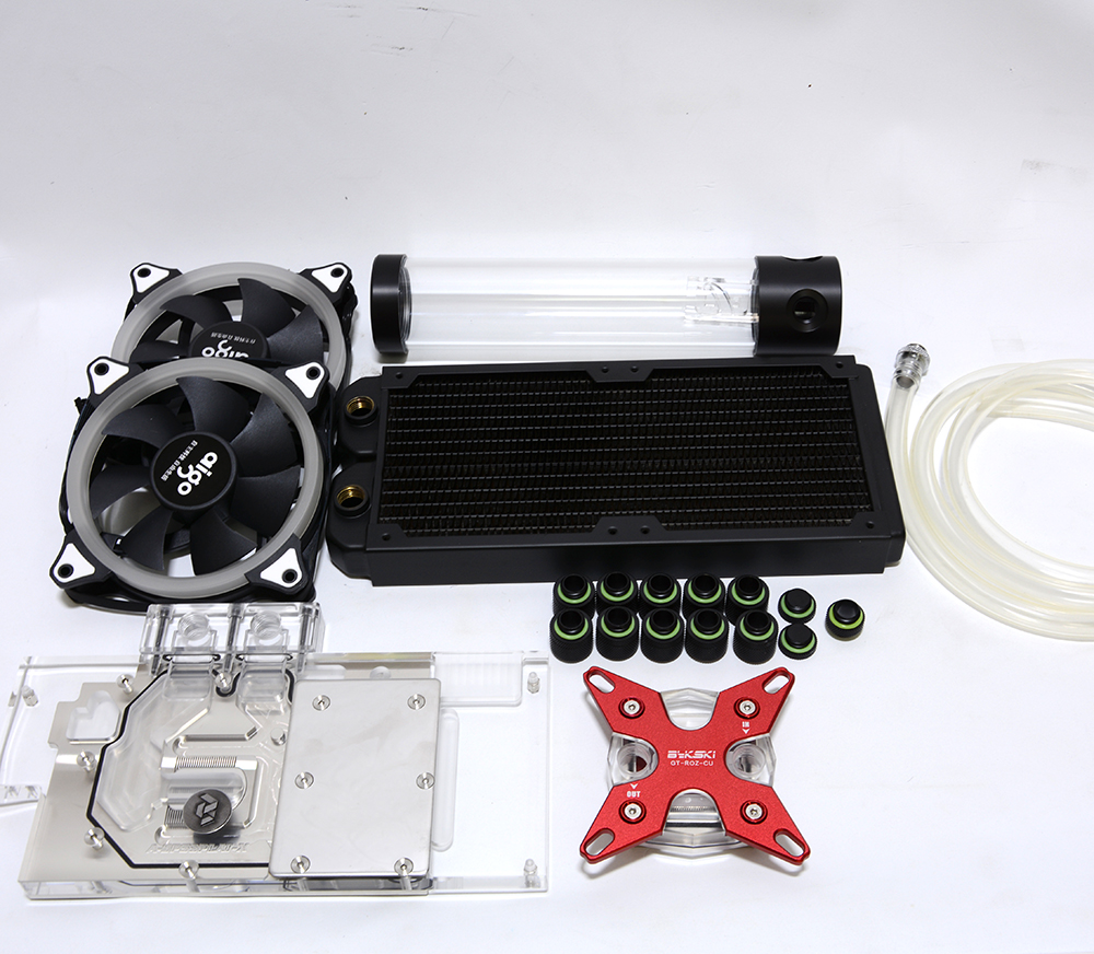 Bykski Soft Tube Suit Water Cooling Kits with 240mm Copper Radiator use for CPU and GPU Block 9.5*12.7mm Flexible Tube Set barrow hard tube water cooling kits with 240 120mm copper radiator virus t reservoir rgb fans for amd4 intel 1151 2011 v3