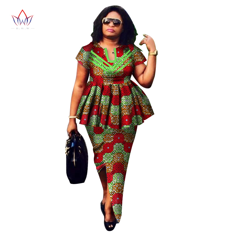 African American Girls Fashion: 2019 Summer African Dashiki For Women O Neck Skirt Set