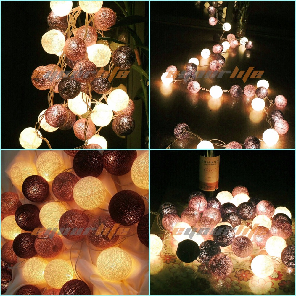 Indoor String Lights Diy : 20 Cotton Balls LED String Light Battery Box DIY Indoor/Outdoor Decoration Bulb Home Room Wall ...