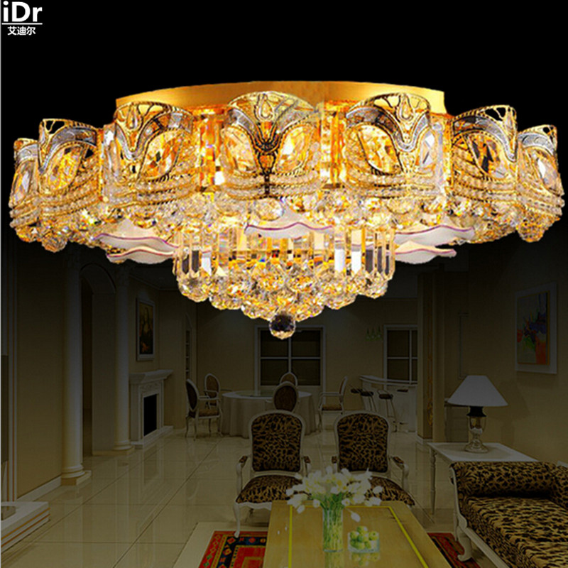 LED Crystal Lamp Living Room Round Headlamps Bedroom Restaurant Lighting Hotel Project Gold Ceiling Lights