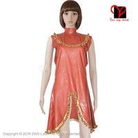 Sexy Brown Golden Latex Dress Rubber Gummi gown sleeveless pleated trim Playsuit Bodycon swing flares slit XXXL plus size QZ 030