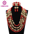 African Red Beaded Statement Necklace Set Wedding Nigerian Jewelry Set for Party Gold Plated Free Shipping CNR780