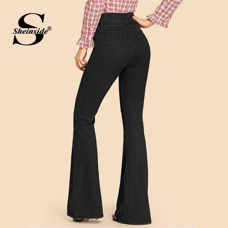 Sheinside черный Высокая Талия Джинсы женские Джинсовая ткань брюки застежка-молния Винтаж брюки капри 2019 осень с завязкой на талии Для женщин расклешенные джинсы