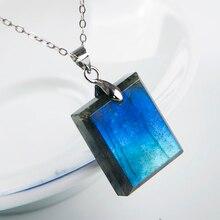 Natural Blue Light Labradorite Pendant Gemstone 21x17x6mm Women Men Fashion Rectangle Shape Crystal Moonstone AAAAA