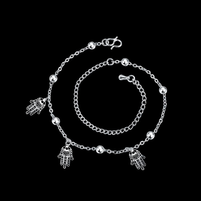 Foot font b Jewelry b font Silver Anklets For Women Triple Hands Pendants Charms Ankle Bracelet