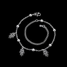 Foot Jewelry Silver Anklets For Women Triple Hands Pendants Charms Ankle Bracelet Silver Plated Anklet Female Summer Style