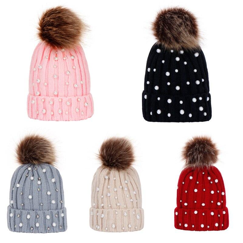 Girl Pom Pom Beanie Warm Knitted Bobble Kids Fur Pompom Hat Pearl Beanie Children Real Raccoon Fur Pompon Sequins Winter Hat Cap