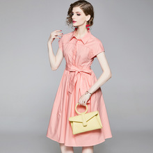 Shirt Dress Summer Woman 2019 New Turn Down Collar Short Sleeves Solid Color Slim Lace-up Waistbelt A-Line OL Dress Over Knees dress summer woman 2019 new turn down collar batwing sleeves solid color slim drawstring waist a line casual dress midi s xl