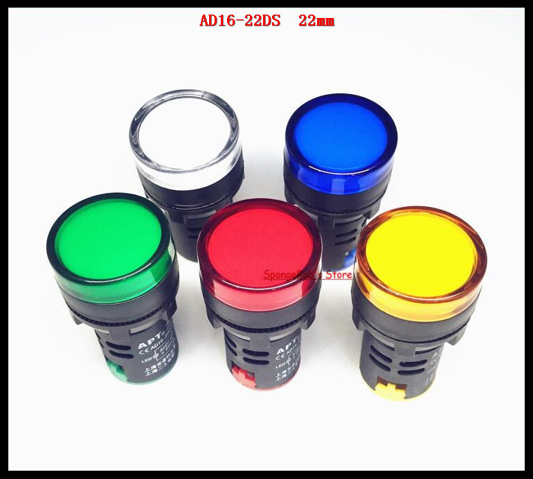 5 Pcs/Lot AD16-22D/S 22mm Mixed Color AC/DC 12V,24V,36V,110V, AC220V LED Power Indicator Signal Light Pilot Lamp