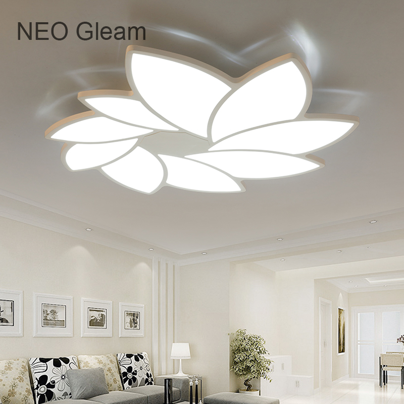 NEO Gleam Modern Led Ceiling Chandelier Lights Ultra-thin White plafon Ceiling Chandelier Lamp Fixture For Living Room Bedroom neo gleam round led chandelier for living room bedroom home ac85 265v modern led ceiling chandelier lamp fixtures free shipping