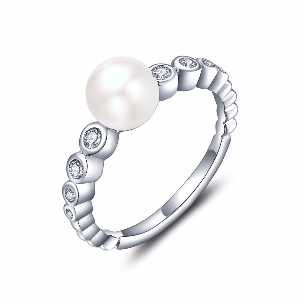 white gold rings for women and freshwater pearl  rings NR55230A (1)