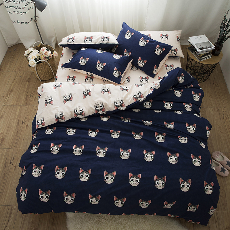 Cute cat bed linen set kids girls adults king queen twin size Bedding set 100% cotton fabric bed ...