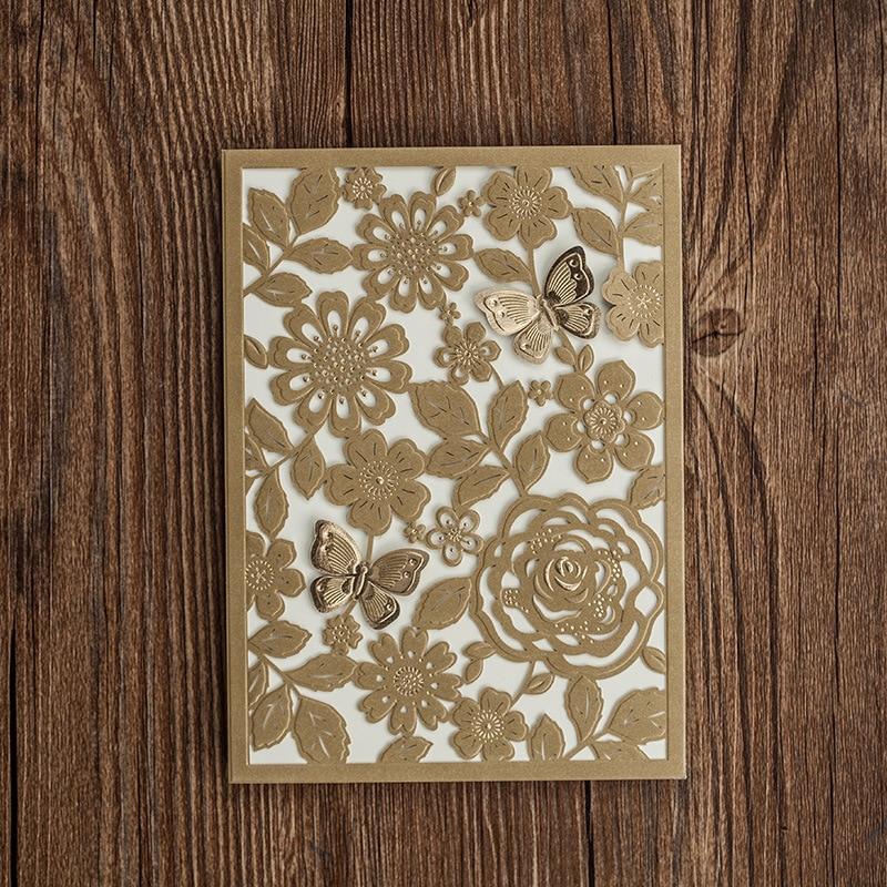 50pcs/lot Laser Cut Wedding Invitations Cards Gold Butterfly Elegant ...