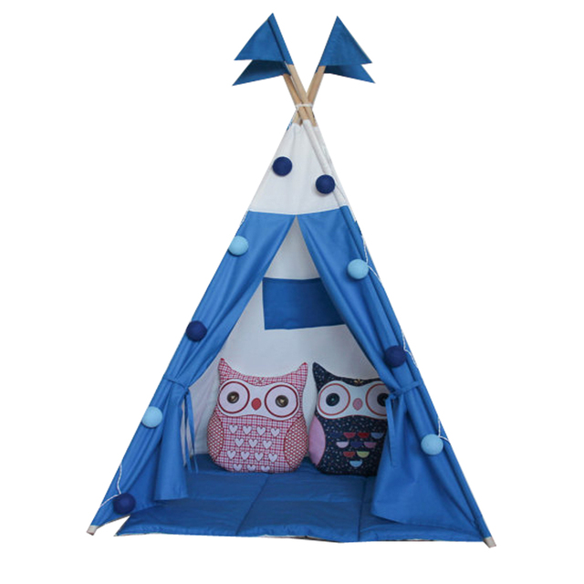 new design blue color with flags kids play tent indian teepee children playhouse  sc 1 st  AliExpress.com & new design blue color with flags kids play tent indian teepee ...
