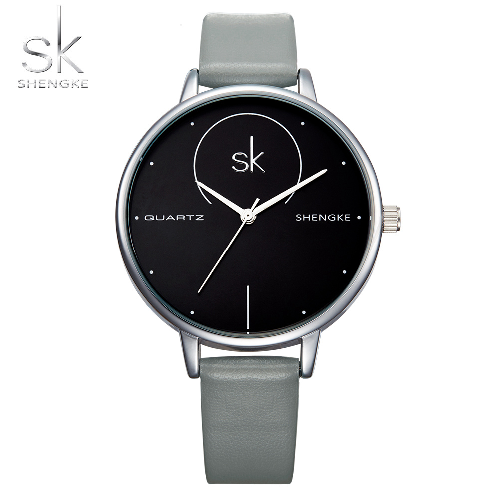 SK Fashion Brand Women Watches Leather Strap Ladies Wristwatches Casual Quartz Clocks For Women And Men Montre Femme Relogios