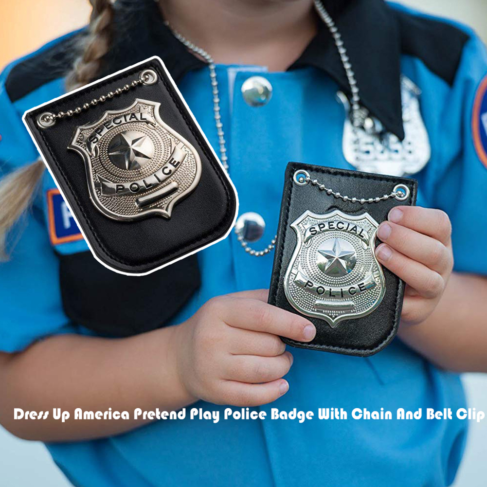 Dress Up America Pretend Play Sheriff Police Badge Toy Chain Belt Clip Cosplay Kids Role Occupations Playing Toys
