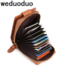 Weduoduo Fashion genuine leather card holder Zipper Hasp Credit Card Men and Women Brand Wallet Driving License Bag