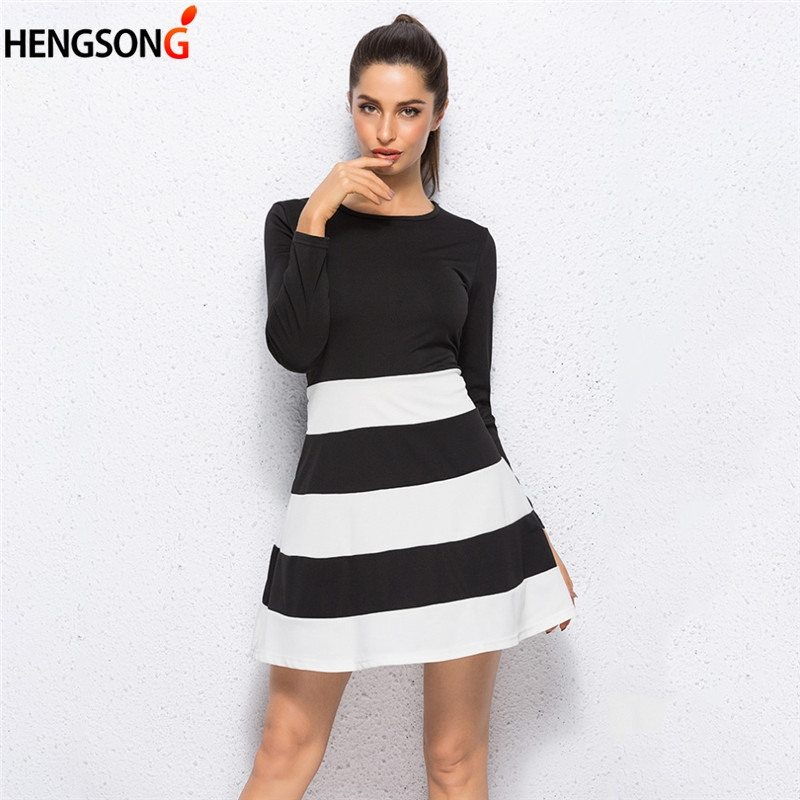 New European Style Women Ladies Fashion Black White Stripe Long Sleeve Bodycon Party Mini Dress Vintage Dress