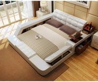 Real Genuine leather bed Soft Beds Bedroom camas lit muebles de dormitorio yatak mobilya quarto desk table drawers storage