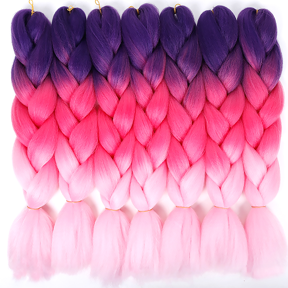 Independent Difei Ombre Three Tone Colored Synthetic Kanekalon Crochet Braids Hairstyle 100g/pack Jumbo Braiding Hair 100% Guarantee Hair Braids