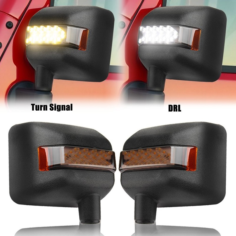 017 JEEP WRANGLER JK LED OFF ROAD REARVIEW MIRROR UPGRADE with Turn Signal Lights & DRL& Side Mirror Lights Side Mirror Light Lamp Bulb